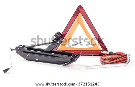Car emergency kit isolated on white - stock photo