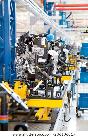 Car engine assembled on the factory production line, circa April 2012 in Kragujevac. - stock photo