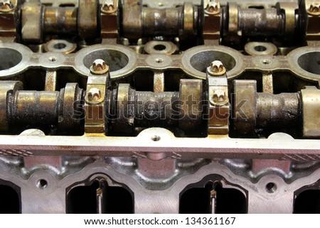 car engine camshaft close up - stock photo
