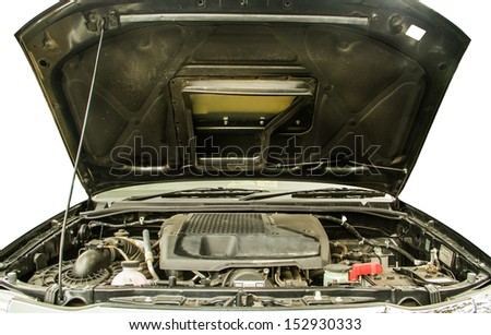 Car engine close up detail. - stock photo