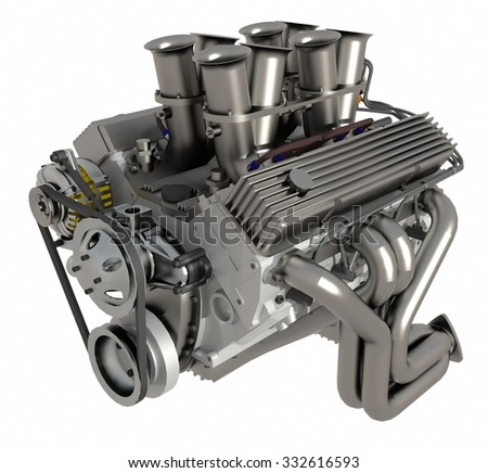 Car engine. Concept of modern car engine isolated on white background - stock photo