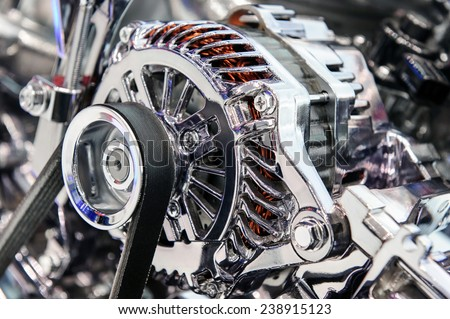 Car engine. Fragment of modern automobile motor - stock photo