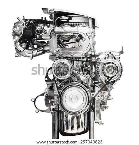 Car engine Isolated on white background - stock photo