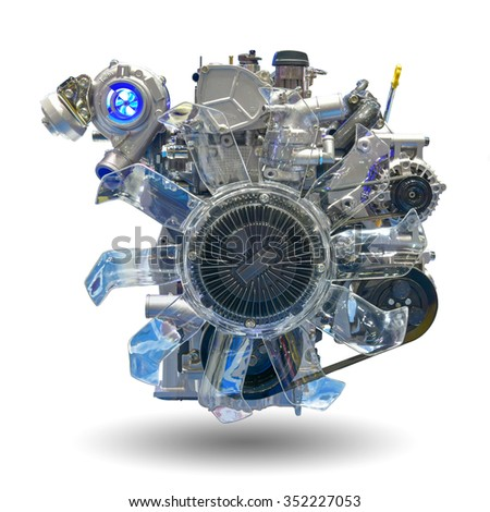 Car engine part isolated on white background. This has clipping path. - stock photo