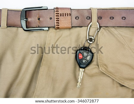 CAR-ENGINE STARTER KEY HANGING WITH TROUSER NEAR THE BROWN TROUSER BELT - stock photo
