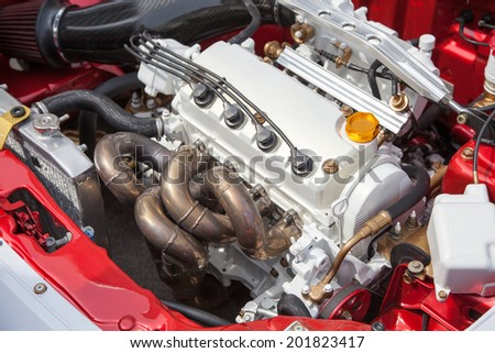 Car engine - under the hood - stock photo