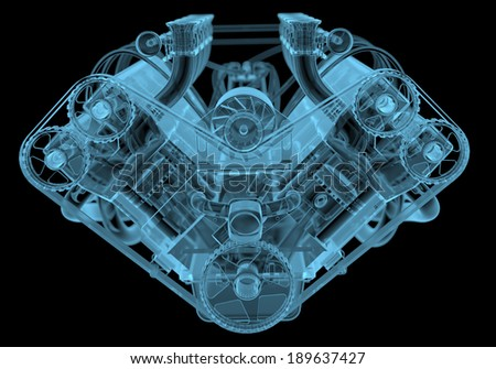 Car engine x-ray blue transparent isolated on black - stock photo