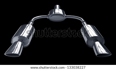 Car Exhaust Pipe isolated on black background high resolution 3d illustration - stock photo