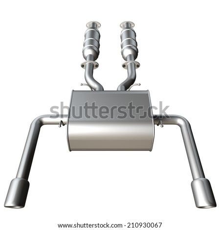 Car exhaust silencer. isolated on white background. 3d - stock photo