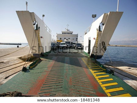 Car ferry boat in Croatia linking the islands to mainland - stock photo