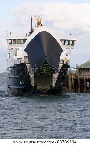Car ferry opening its doors - stock photo