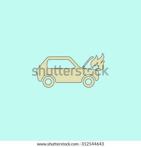 Car fired. Flat simple line icon. Retro color modern illustration pictogram. Collection concept symbol for infographic project and logo - stock photo