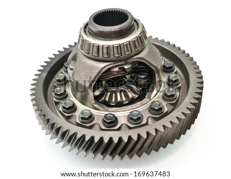 Car gear box differential on white background. - stock photo