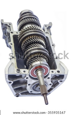 car gearbox inner on isolated background - stock photo