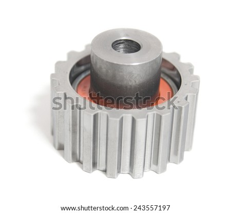 Car gearbox part isolated on white background - stock photo