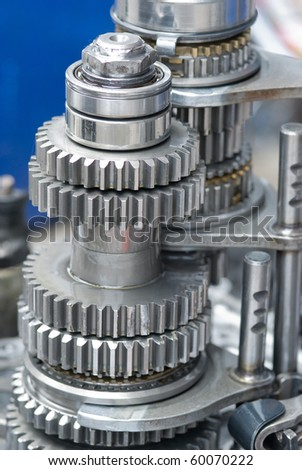 Car gearbox. Shallow depth of field with the upper part in focus. - stock photo
