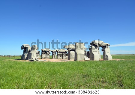 Car Henge in Nebraska - stock photo