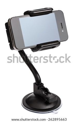 Car holder for mobile device on white background - stock photo