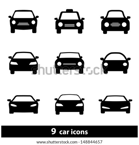 Car Icon Set. Raster version, vector also available. - stock photo