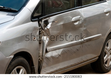 car in an accident - stock photo
