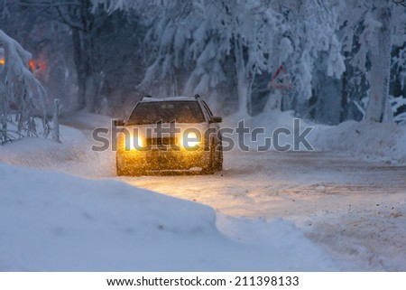car in winter, Orlicke hory, Czech Republic - stock photo