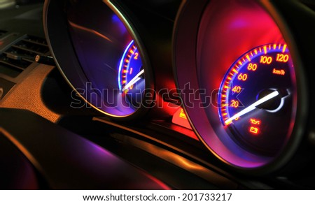Car instrument panel - stock photo