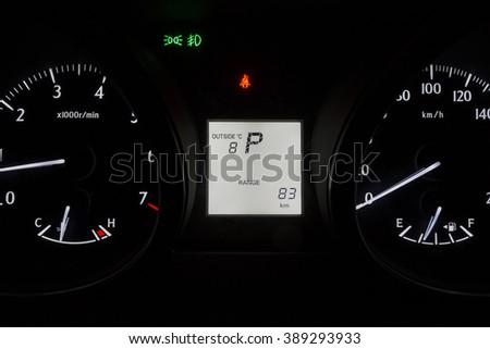 Car instrument panel white - stock photo