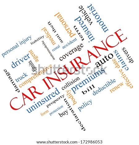 Car Insurance Word Cloud Concept Angled with great terms such as auto, claims, coverage, bill and more. - stock photo