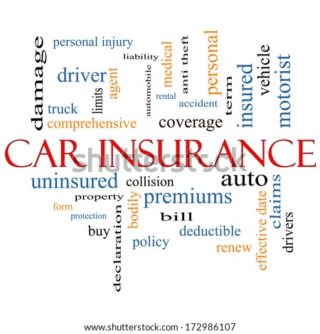 Car Insurance Word Cloud Concept with great terms such as auto, claims, coverage, bill and more. - stock photo