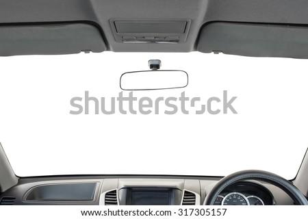 Car interior isolated on white background - stock photo