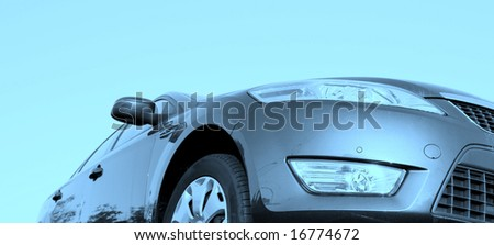 Car isolated. View from the frontside - stock photo