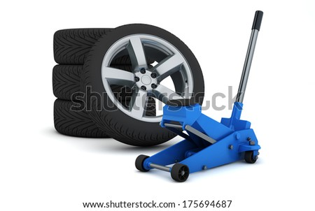 car jack and wheels isolated with clipping path - stock photo