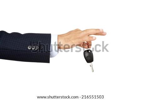 Car Key isolated on white - stock photo