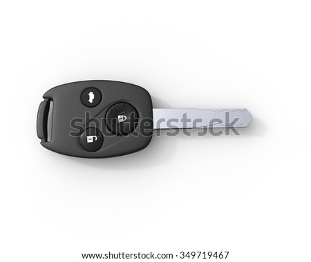 Car key - top view on white background, ideal for digital and print design. - stock photo