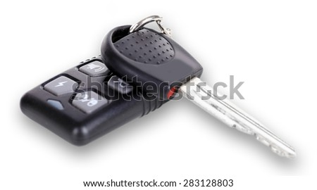 Car key with remote control isolated on white - stock photo