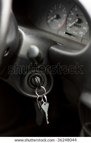 Car keys in ignition - stock photo