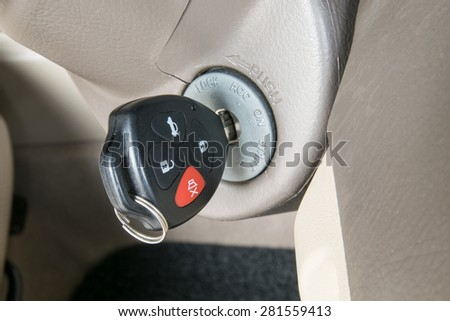 Car keys in ignition (start the car) - stock photo
