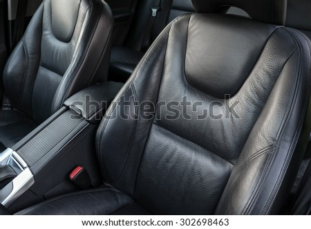 Car leather seats - stock photo