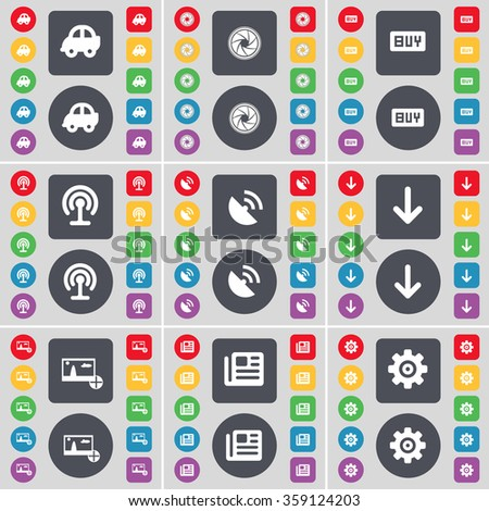 Car, Lens, Buy, Wi-Fi, Satellite dish, Arrow down, Picture, Newspaper, Gear icon symbol. A large set of flat, colored buttons for your design. illustration - stock photo