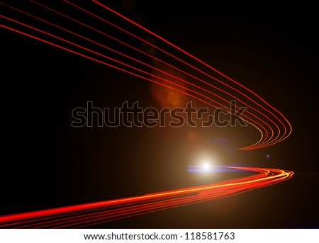 car light trails in tunnel. Art image . Long exposure photo taken in a tunnel - stock photo