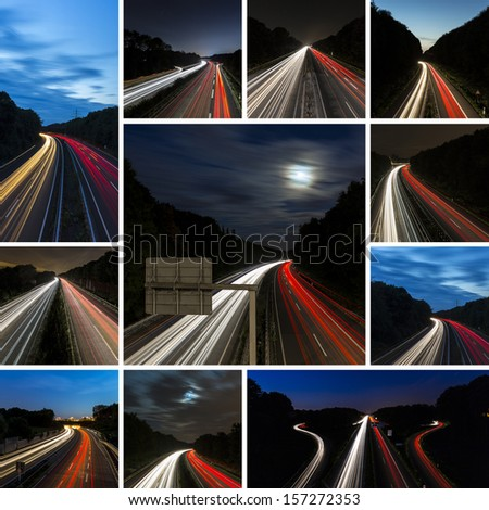 Car light trails on highway at night and blue hour set collage - stock photo