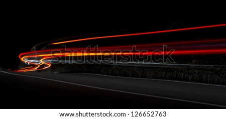 Car light trails.Very art image . Long exposure photo - stock photo