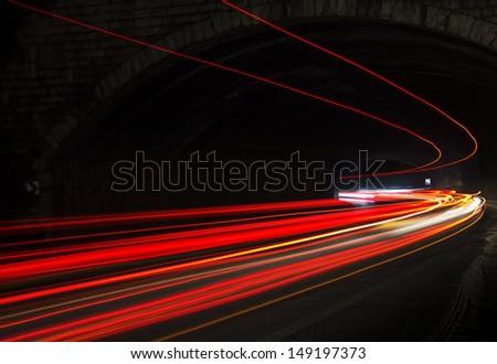 car lights at night. art image.  - stock photo