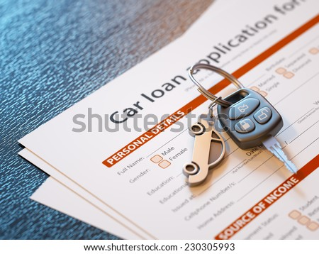 Car loan application with car keys - stock photo