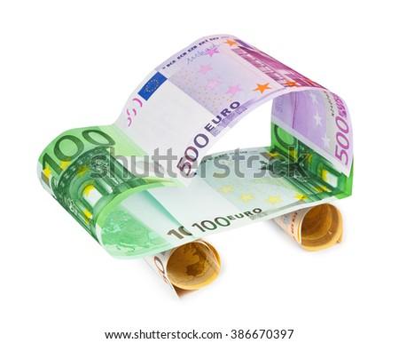 Car made of money isolated on white background - stock photo