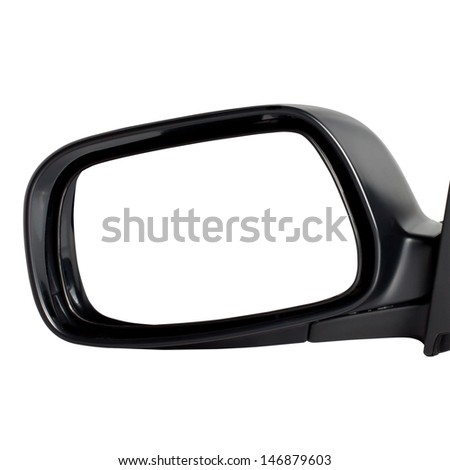Car Mirror Isolated On White Background - stock photo