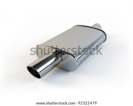 Car muffler on a white background - stock photo