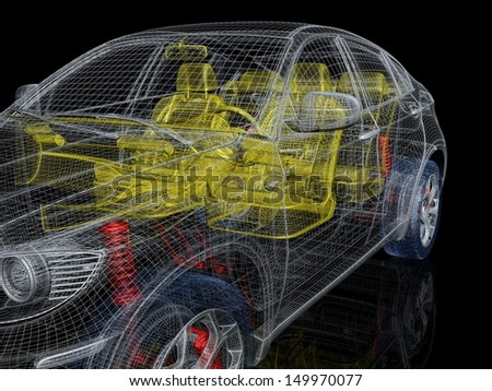 Car multicolor drawing - stock photo