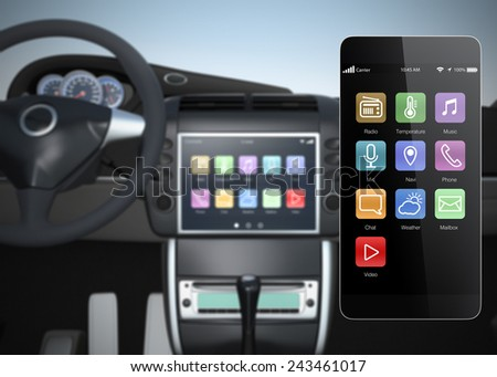 Car multimedia console synchronized with smart phone  - stock photo