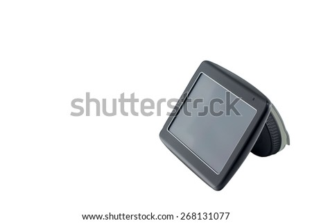 Car navigation equipment with empty dark screen on white isolated background. Side view.  Description and keywords do not include words such as trademarks. - stock photo